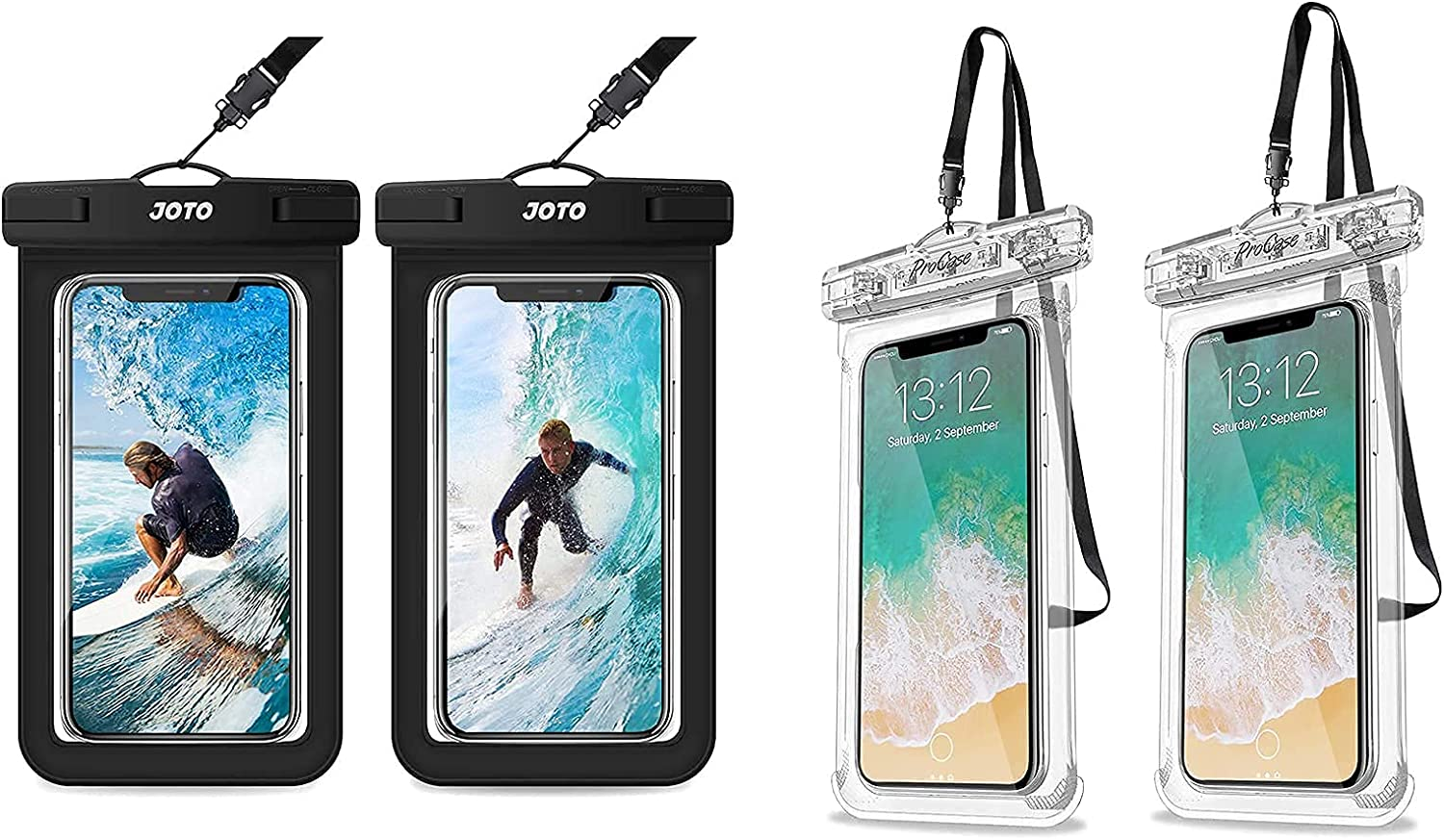 JOTO [2 Pack] Universal Waterproof Pouch Cellphone Dry Bag Case Bundle with ProCase [2 Pack] Universal Waterproof Case for Phones up to 7