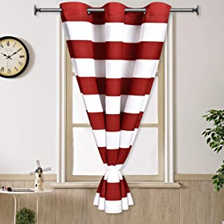 Yastouay Stripe Window Curtain Striped Room Darkening Grommet Curtains 47 × 59 Inches Stripes Drapes for Bedroom Living Room, Red