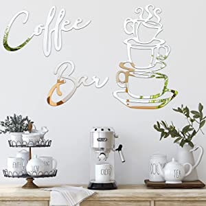 5 Pieces Coffee Cup Letter Wall Decor Sticker DIY Removable Acrylic Mirror Wall Art Sign for Kitchen Bar Home Office Shop Restaurant