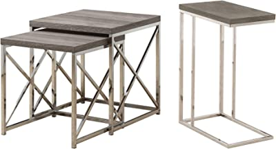 ce5223a4c7aa Monarch Contemporary Accent 2-Piece Dark Taupe Nesting End Tables   Side  Table