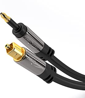 KabelDirekt 1,5m Cable Mini TOSLINK a Cable Óptico TOSLINK (Dolby Digital normal, DTS, Conector Mini-TOSLINK Macho a Conector TOSLINK Macho) PRO Series