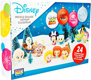 Sambro DIS-6975 Advent Calendar Puzzle Palz Eraser Toy Figures, Disney Frozen, Princess, Toy Story and Many More for Children from 3 Years Old Colourful