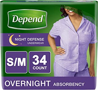 Depend Night Defense Incontinence Overnight Underwear for Women, S/M (Packaging may vary)