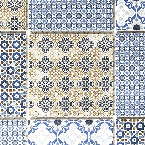Retro Vintage Mosaik Fliese Keramik weiß blau orange grau für WAND BAD WC DUSCHE KÜCHE FLIESENSPIEGEL THEKENVERKLEIDUNG BADEWANNENVERKLEIDUNG WB22B-1404