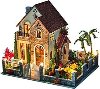 ZYSWP Chateau Handmade Puzzle,Miniature Dollhouse DIY Kit Light Apartment Series Houses Accessories Wooden House