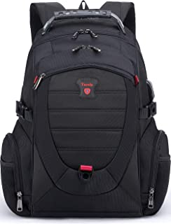 Tzowla Travel Laptop Backpack,Anti-Theft Water Resistant Business Luggage with TSA Lock&USB Charging Port Friendly Computer Cooler Daypack for Men Women College School Bag Fit 16/17 inch Laptop(Black)