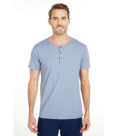 The Normal Brand Slub Short Sleeve Henley (Light Indigo) Men