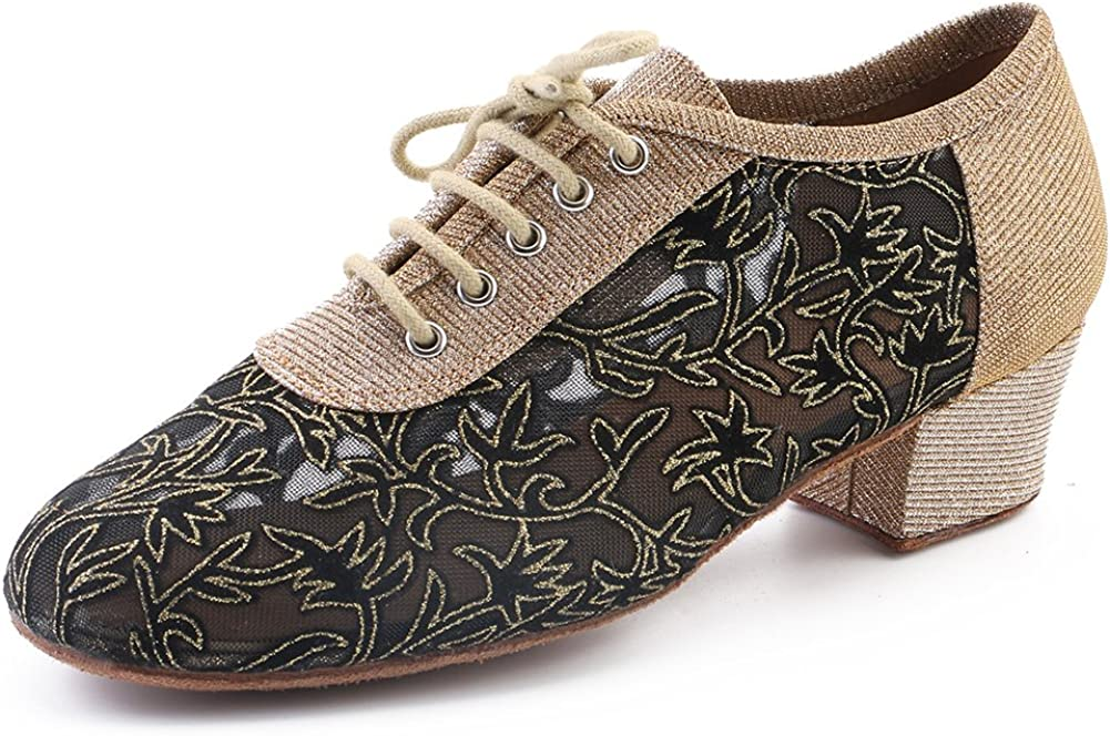 Purifit Women Ballroom Dancing Shoes Ladies Latin Practice Shoe Suede Sole Lace-up,Black Glitter and Gold Mesh