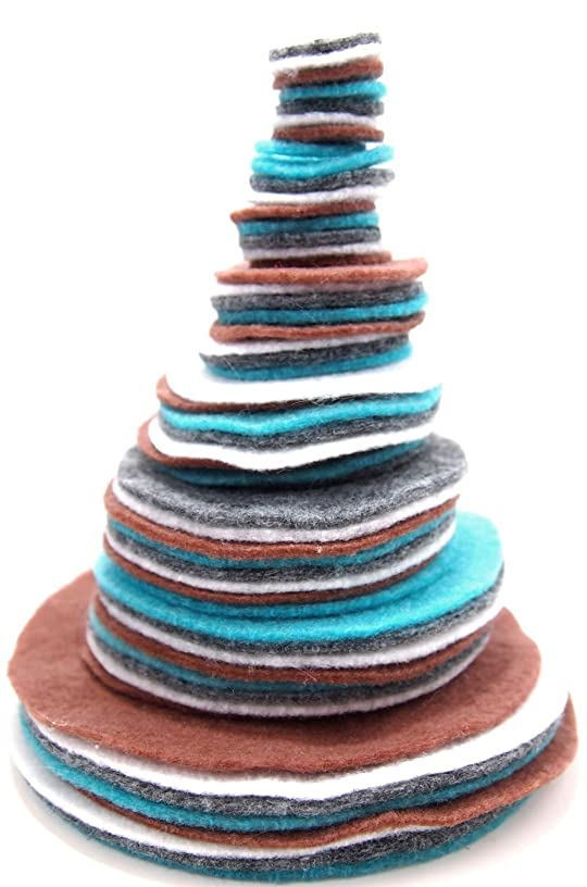 Playfully Ever After 3/4 to 4 Inch Assorted Sizes Felt Circles Color Combo Pack with Charcoal Gray, Turquoise Blue, White, Cocoa Brown (56pc)