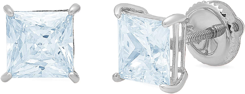2.0 ct Princess Cut ideal VVS1 Conflict Free Gemstone Solitaire Aquamarine Blue CZ Designer Stud Earrings Solid 14k White Gold Screw Back Clara Pucci