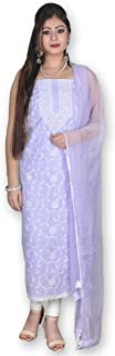 LIGHT PURPLE COTTON SUIT & CHIFFON DUPATTA WITH CHIKANKARI & CROCHET