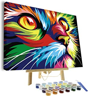 VIGEIYA DIY Paint by Numbers for Adults Include Framed Canvas and Wooden Easel with Brushes and Acrylic Pigment 15.7x19.6inch (cat)