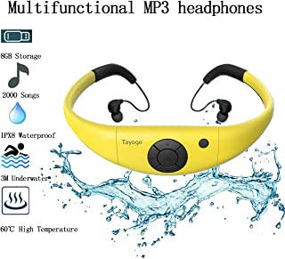 Tayogo Waterproof MP3 Player, IPX8 Swimming Waterproof Headphones, 8GB Memory Can Download 2000 Songs, Work for 6-8 Hours Underwater 3 Meters, with Shuffle Feature - Yellow