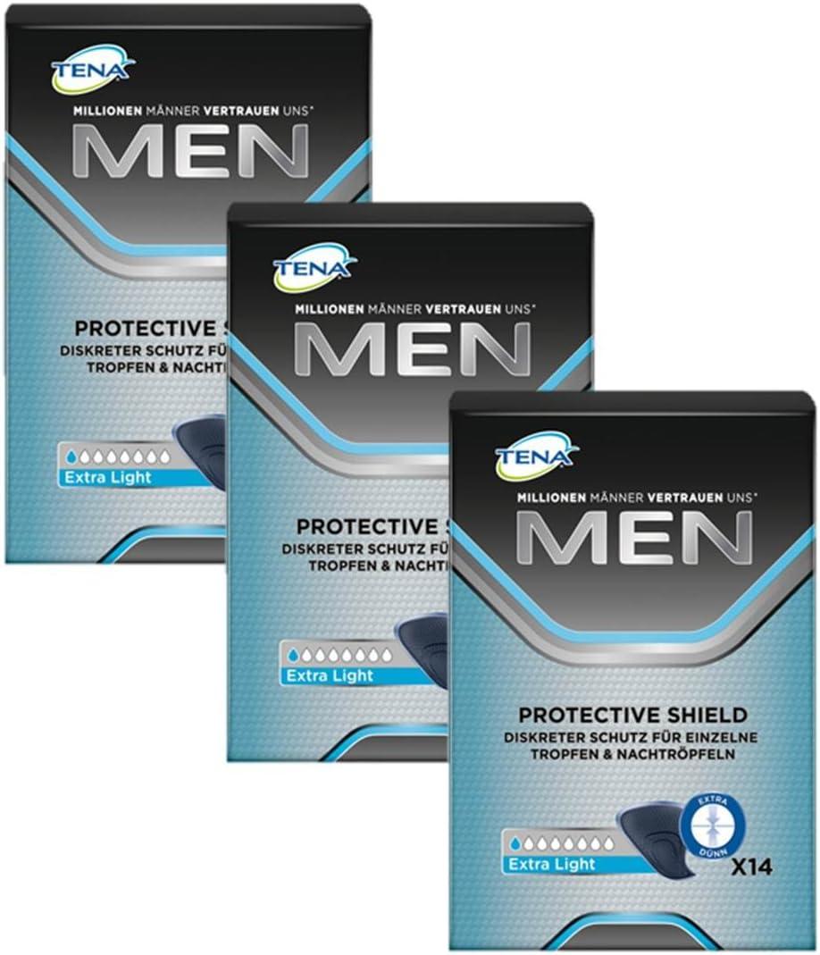 Tena Protección masculina, extraligera, para ligeras pérdidas/incontinencia (3Paquetes de 14compresas)