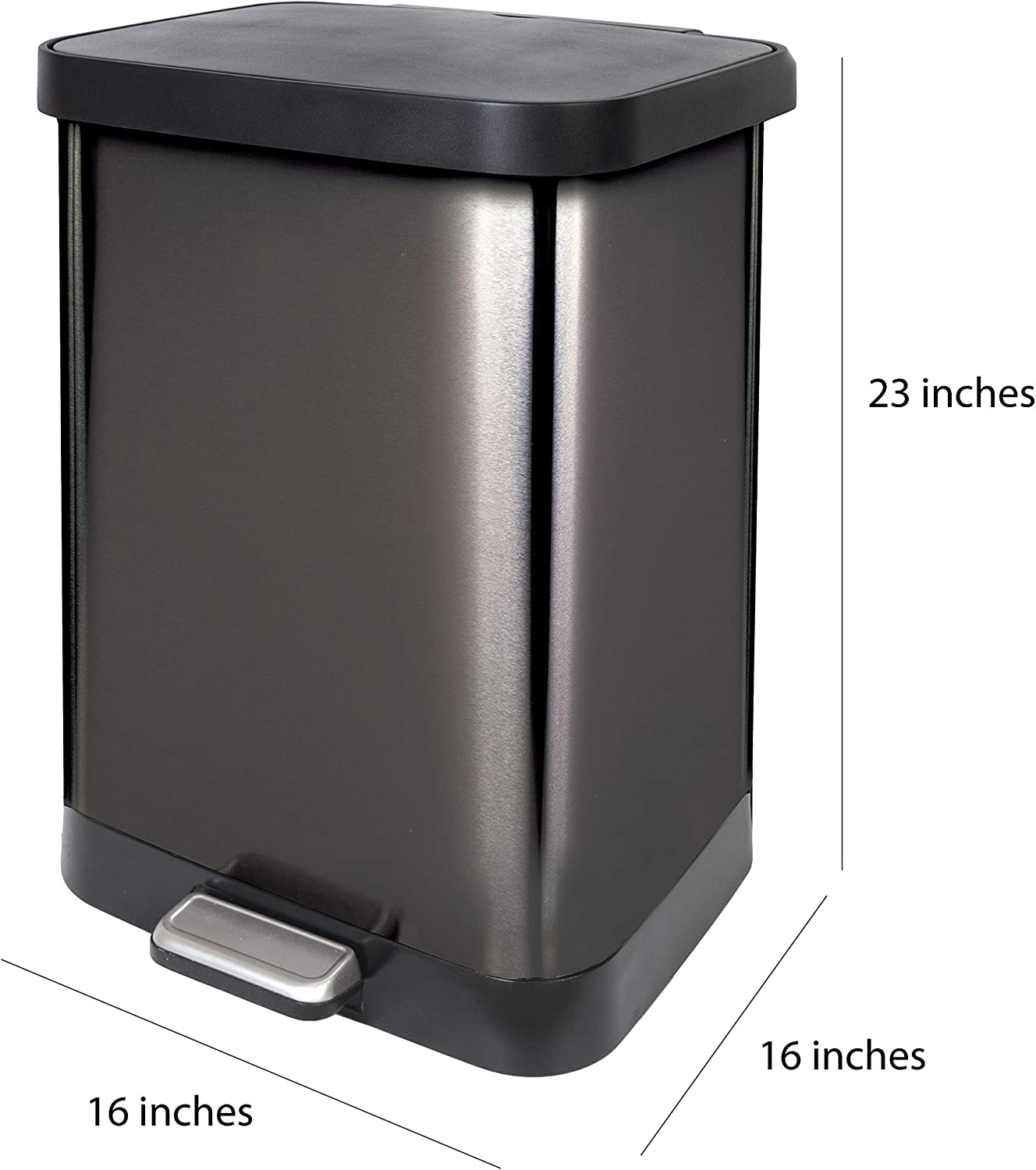Foot Pedal and Waste Bag Roll Holder Large Metal Kitchen Garbage Bin with Soft Close Lid Glad GLD-74506 Stainless Steel Step Trash Can with Clorox Odor Protection 13 Gallon
