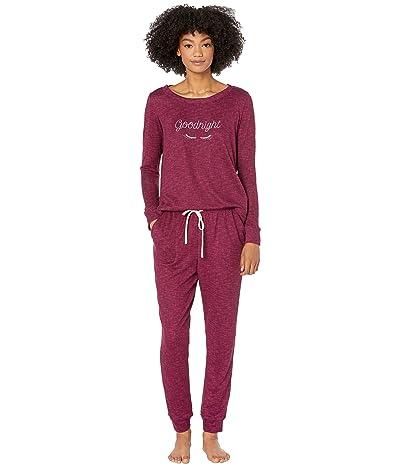"Kate Spade New York Brushed Sweater Knit Pajama Set (Plum ""Goodnight"") Women"