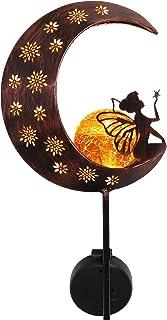 TERESA'S COLLECTIONS 39 inch Metal Moon Fairy Garden Solar Lights with Angel Decor, Decorative Moon Solar Lights with Crac...