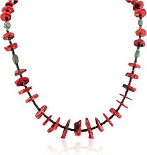 $340Tag Certified Silver Navajo Natural Turquoise Coral Native Necklace 25235-4 Made by Loma Siiva