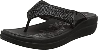 Skechers Women's Upgrades-Stone Cold-Rhinestone Thong Flip-Flop