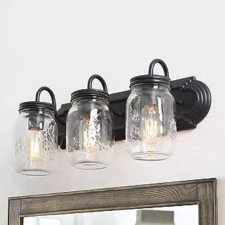 LNC Bathroom Vanity Lights,Farmhouse Mason Jar Wall Sconce Over Mirror A02980, Brown