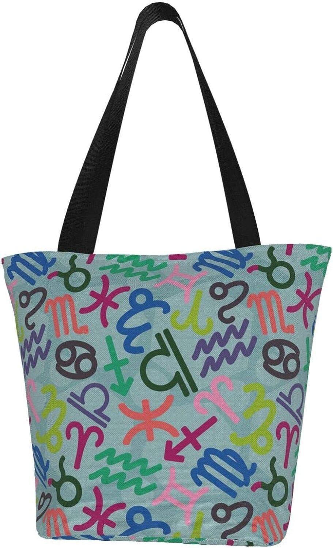 Cancer Zodiac Constellation Charm Stars Green Themed Printed Women Canvas Handbag Zipper Shoulder Bag Work Booksbag Tote Purse Leisure Hobo Bag For Shopping