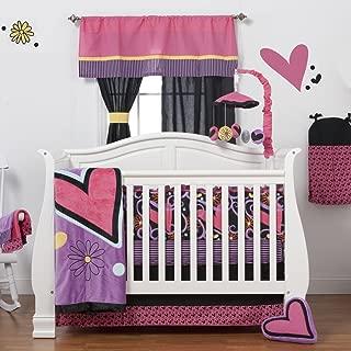One Grace Place Sassy Shaylee Infant Crib Bedding Set, Black/Pink/Purple