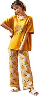 MUFRIYIT-AE Women's Short Sleeve Long Pant Round Neck Letter Print Slim Summer Nightwear Sleepwear Pajama Set