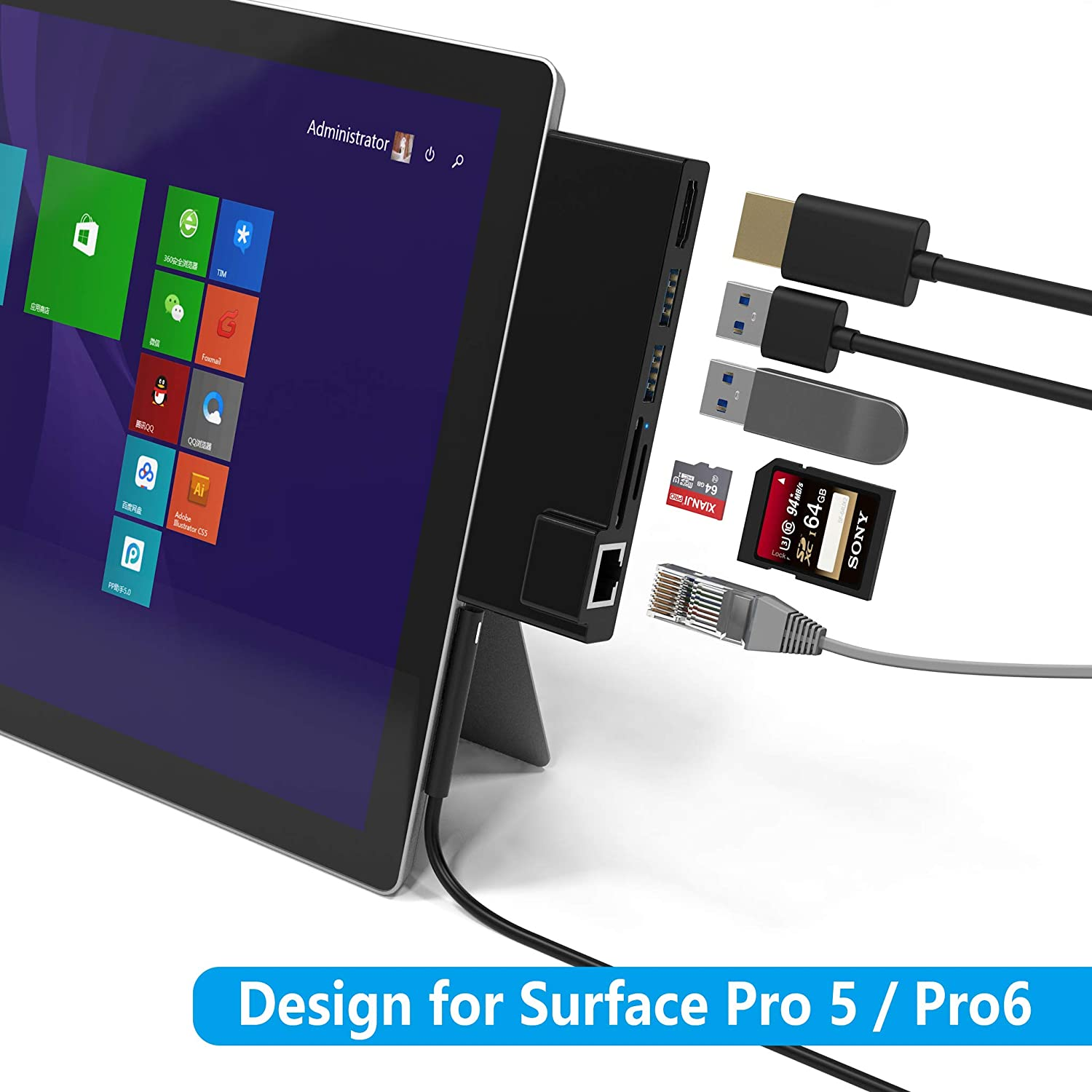 Portable Dock for Surface Pro 4/5/6 USB Hub Docking Station with 1000M Ethernet Port, 4K HDMI, 2 x USB 3.0 Ports, SD/Micro SD Card Reader,LAN Adapter for The 4th/5th/6th-gen Surface Pro 2016/2017/2018
