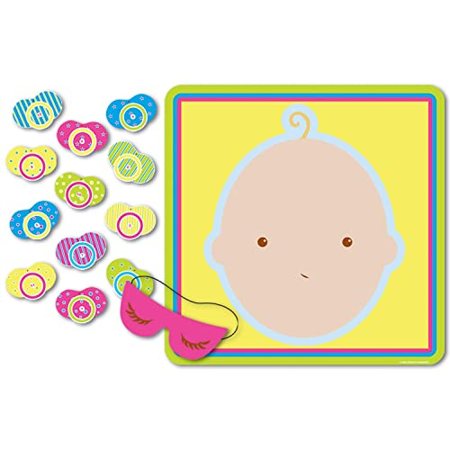 """Beistle 66675 Pin The Pacifier Baby Shower Game, 17"""" x 18.5"""", 1 piece"""