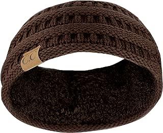 C.C Soft Stretch Winter Warm Cable Knit Fuzzy Lined Ear Warmer Headband