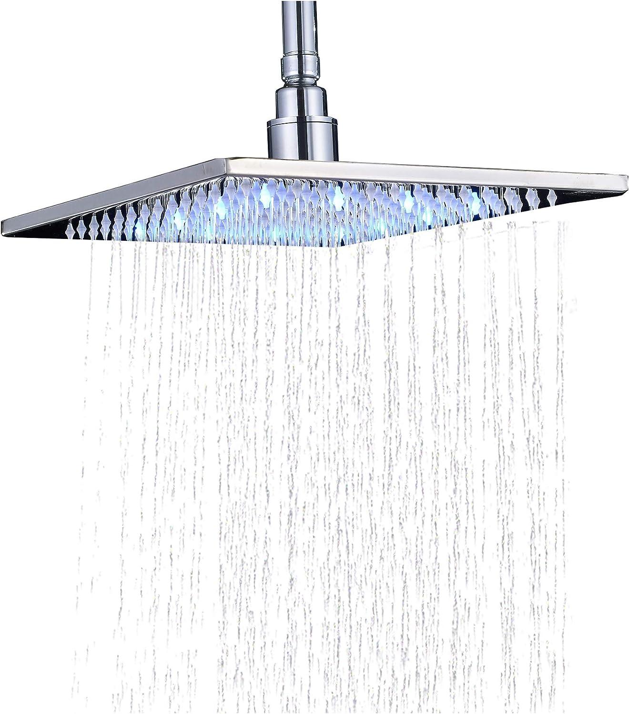 Rozin Chrome Outlet SALE Bathroom 10-inch Rainfall Shower Head Fixed price for sale Ove LED Light