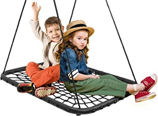 "Sorbus 40"" Spinner Web Tree Swing Kids Indoor/Outdoor Rectangular Net Swing Seat, Great for Tree, Garden, Swing Set, Backyard, Playground, Playroom, Accessories Included"