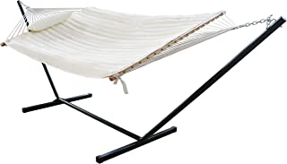 VEIKOU 2 Person Double Hammock with 12 Foot Portable Steel Stand & Spreader Bar, Quilted Fabric Bed