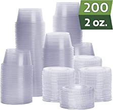 [200 Sets - 2 oz.] Plastic Portion Cups With Lids, Souffle Cups, Jello Shot Cups, Condiment Sauce Containers