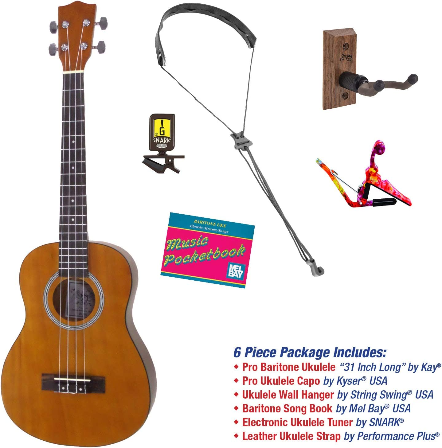 Kay Sales of SALE items from Industry No. 1 new works Baritone Ukulele Pro Player Strap 4-String Package Tuner