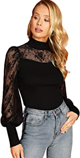 Women's Long Sleeeve Mesh Shirt Sheer See Through Top Blouse
