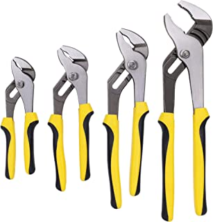 TOPLINE 4-piece Groove Joint Pliers Set with Bi-Material Handles, Pliers Wrench Set Included 12-in, 10-in, 8-in and 6-in, ...