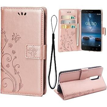 Teebo Funda de Billetera para Nokia 8,3 Funda de Cuero repujada Funda de Cuero magnética para Nokia 8 -Oro Rosado