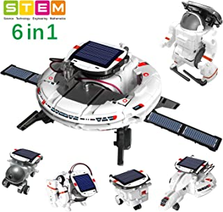 OASO STEM Toy Space Fleet Building Kits for Kids, DIY Science Experiment 6 in 1 Solar Powered Rechargeable Building Toy Sets for Boys Girls Aged 8 9 10