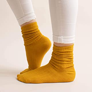 Prickly Pear Yellow Ribbed Crew Boot Sock, Womens, One Size Fits Most