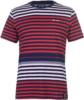 GioGoi Grid Stripe T-Shirt Mens Red/Blue Tee Shirt Top