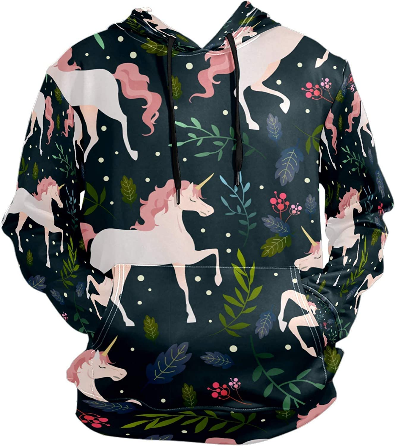 Forest Noble Pink Unicorn Mens Sport Hoodie Big and Tall Hoodies for Men Women Oversized Hooded Sweatshirt Hip Hop Pullover Hoodie Midweight Hood for Boys Girls