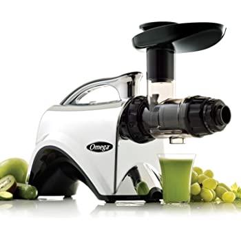 Omega Juicer Extractor and Nutrition Center Creates Fruit Vegetable and Wheatgrass Juice Quiet Motor Slow Masticating Dual-Stage Extraction with Adjustable Settings, 150-Watt, Metallic