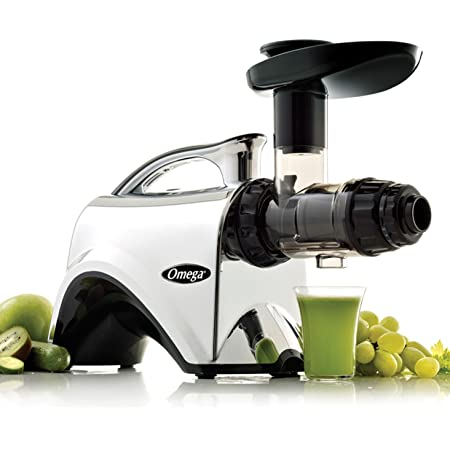 Omega NC900HDC Juicer Extractor and Nutrition System Creates Fruit Vegetable and Wheatgrass Juice Quiet Motor Slow Masticating Dual-Stage Extraction with Adjustable Settings, 150-Watt, Metallic