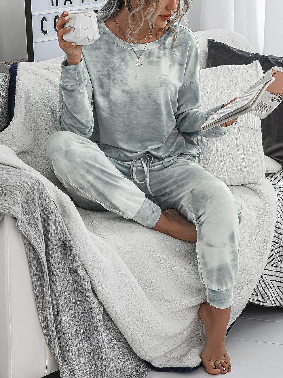Doaraha Conjunto de Ch/ándal para Mujer Algodon Manga Larga Sudadera y Pantal/ón Casual Conjunto de Deporte Conjunto Pijama para Primavera,Oto/ño,Invierno