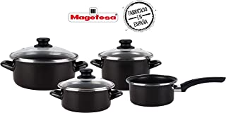 Magefesa Batería Cocina, Acero esmaltado, Negro, 41x27x19 cm, 3980