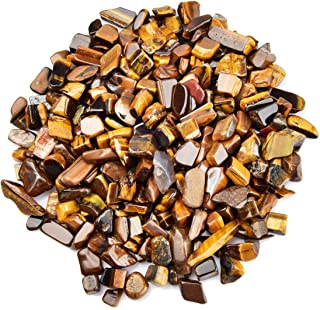 June&Ann Tiger's Eye Tumbled Chips Stone, 1 Pound 5-7mm Gemstone Chips Crushed Pieces Irregular Shaped Stones Crystal Chip...
