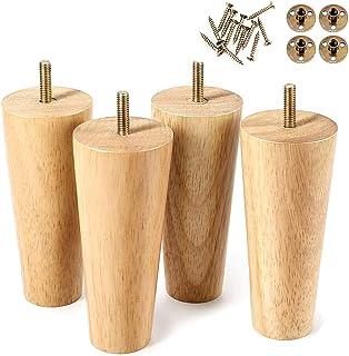 4 pcs Hauteur Meubles Jambes 10cm fusée de Bois en Bois Conique Jambes de Bois Massif Naturel fiable Fedets, Tapis antidér...
