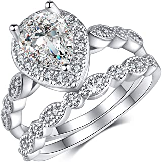 18K White Gold Plating Excellent Pear Cut Cubic Zirconia CZ Stone Diamond Halo Ring/Teardrop Ring Set Christmas Jewelry Gifts for Women with Box Packing Size 5-10
