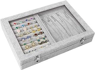 صينية منظم تخزين مجوهرات بغطاء شفاف لسهولة عرضها مع قفل، لتخزين الاقراط والعقود والخواتم، هدايا للفتيات والنساء (2 في 1) م...